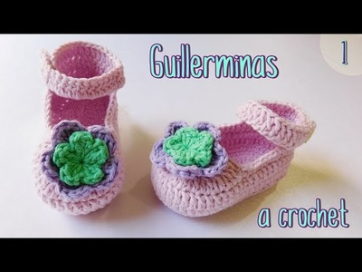 Como tejer guillerminas, merceditas a crochet para bebe (1.2)
