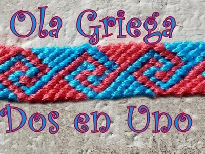 Pulsera de Hilo: Ola Griega Dos en Uno