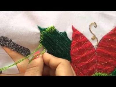 133.- Bordado Fantasia  hoja de la niña nochebuena parte 2 de 2