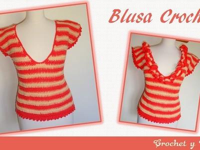 Blusa combinada fruncida a crochet para mujeres – Parte 1