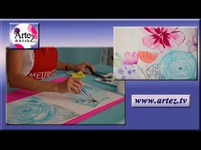 Como pintar una flor con acrilico y estilo acuarela