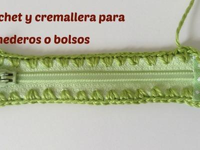 Crochet sobre cremallera, para monedero a crochet