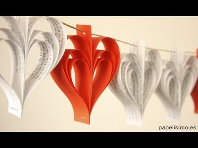 Guirnalda de papel de corazones. Manualidades fáciles con papel