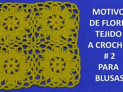 Motivo de flores tejido a crochet # 2 para blusas