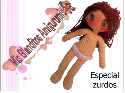Tutorial crochet patrón braguitas muñeca Lilia amigurumi (zurdos)