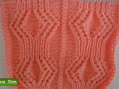 Tutorial de tejido con dos agujas. Punto (puntada) ROMBOS CALADOS # 379