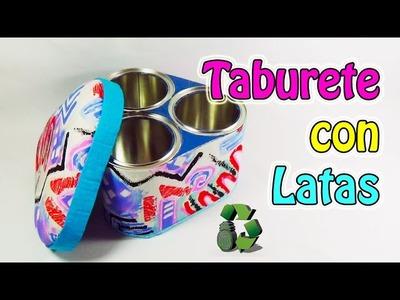 204. Manualidades: Taburete o puff para niños con latas (Reciclaje) Ecobrisa
