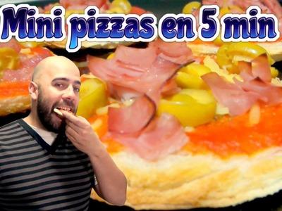Como hacer mini pizzas en 5 minutos. Recetas fáciles, rápidas y deliciosas
