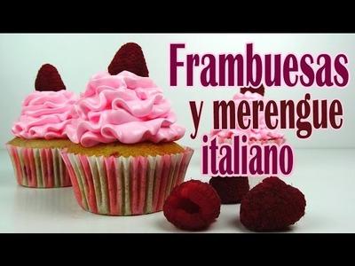 Cupcakes de frambuesa y merengue italiano