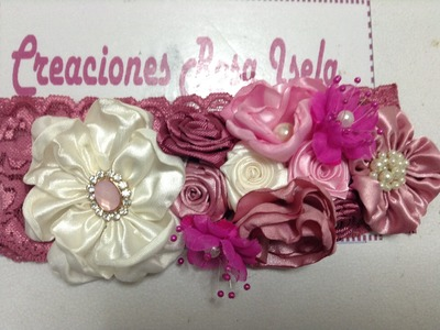 Tiara de flores de tela satinada VIDEO No. 181