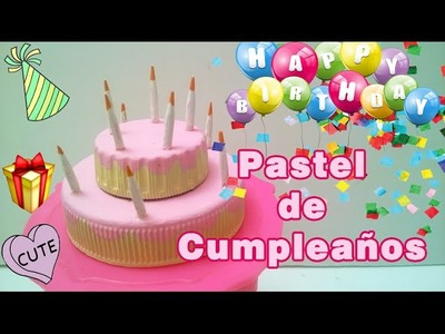 Torta o Pastel de Cumpleaños para Muñecas, miniature doll