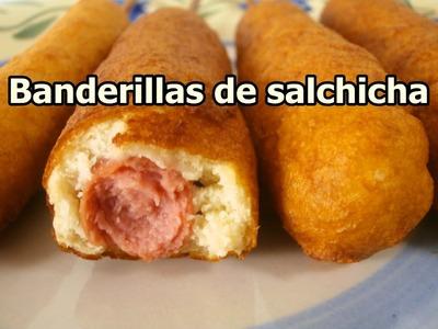 BANDERILLAS DE SALCHICHA FACILES - Recetas de cocina rapidas y economicas de hacer