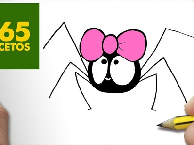 COMO DIBUJAR ARAÑA KAWAII PASO A PASO - Dibujos kawaii faciles - How to draw a SPIDER