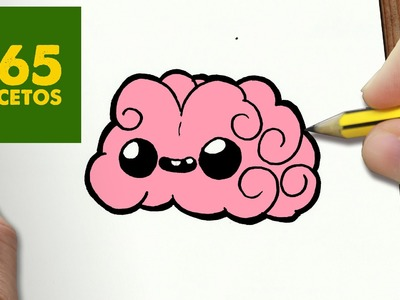 COMO DIBUJAR CEREBRO KAWAII PASO A PASO - Dibujos kawaii faciles - How to draw a brain
