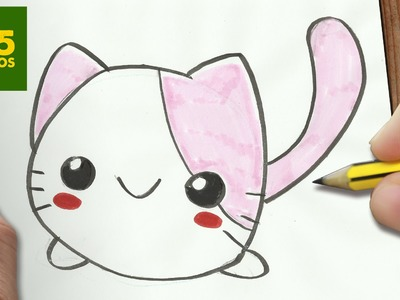 COMO DIBUJAR GATO KAWAII PASO A PASO - Dibujos kawaii faciles - How to draw a CAT