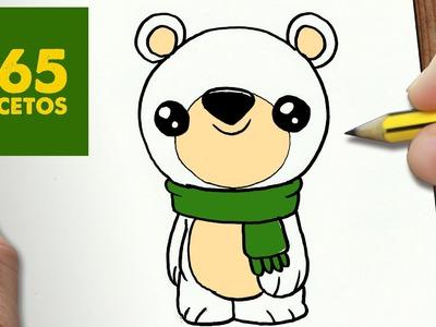 COMO DIBUJAR UN OSO POLAR PARA NAVIDAD PASO A PASO: Dibujos kawaii navideños - draw a polar bear