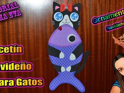 ♥ Tutorial: Calcetín Para Gato de Navidad de Goma Eva (Foamy) ♥