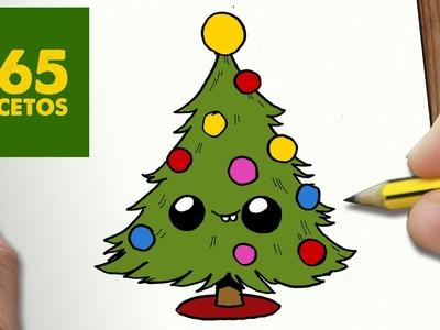 COMO DIBUJAR ARBOL NAVIDAD KAWAII PASO A PASO - Dibujos kawaii faciles - How to draw a CHRISMAS TREE