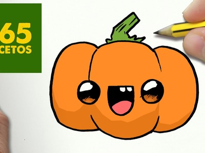 COMO DIBUJAR CALABAZA KAWAII PASO A PASO - Dibujos kawaii faciles - How to draw a PUMPKIN