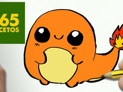 COMO DIBUJAR CHARMANDER KAWAII PASO A PASO - Dibujos kawaii faciles - How to draw a Charmander
