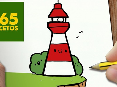 COMO DIBUJAR FARO KAWAII PASO A PASO - Dibujos kawaii faciles - How to draw a LIGHTHOUSE