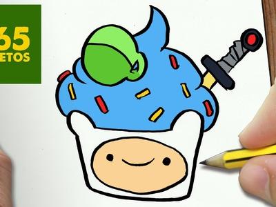 COMO DIBUJAR FINN CUPCAKE KAWAII PASO A PASO - Dibujos kawaii faciles - How to draw a FINN CUPCAKE