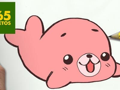 COMO DIBUJAR FOCA KAWAII PASO A PASO - Dibujos kawaii faciles - How to draw a foca