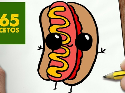 COMO DIBUJAR HOTDOG KAWAII PASO A PASO - Dibujos kawaii faciles - How to draw a HOTDOG