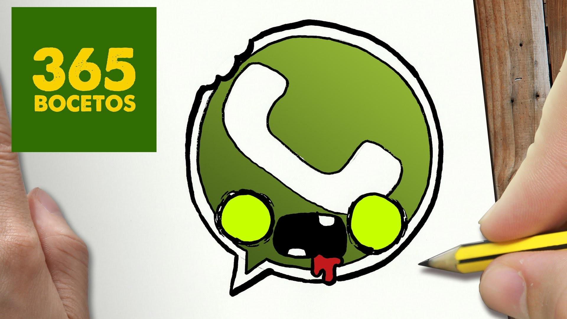 Como Dibujar Logo Whatsapp Zombie Kawaii Paso A Dibujos