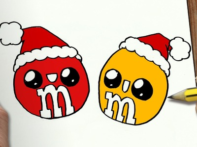 COMO DIBUJAR M&M´S PARA NAVIDAD PASO A PASO: Dibujos kawaii navideños - How to draw a M&M´S