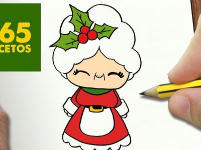 COMO DIBUJAR MAMA NOEL PARA NAVIDAD PASO A PASO: Dibujos kawaii navideños - How to draw a MAMA NOEL