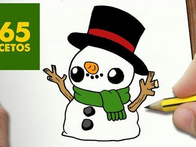 COMO DIBUJAR MUÑECO DE NIEVE KAWAII PASO A PASO - Dibujos kawaii faciles - How to draw a Snowman