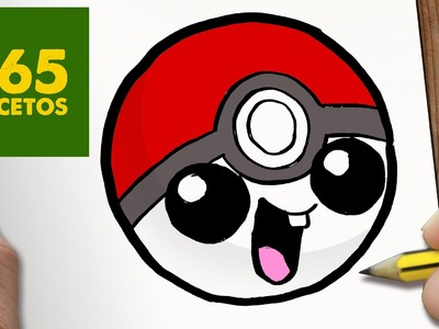 COMO DIBUJAR POKEBALL KAWAII PASO A PASO - Dibujos kawaii faciles - How to draw a Pokeball