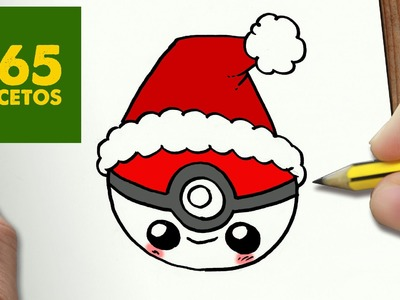 COMO DIBUJAR POKEBALL PARA NAVIDAD PASO A PASO: Dibujos kawaii navideños - How to draw a pokeball