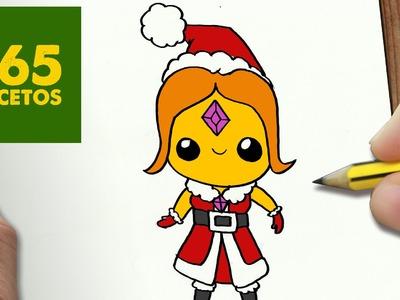 COMO DIBUJAR PRINCESA FLAMA PARA NAVIDAD PASO A PASO: Dibujos kawaii navideños - draw Phoebe