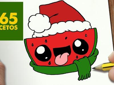 COMO DIBUJAR SANDIA PARA NAVIDAD PASO A PASO: Dibujos kawaii navideños - How to draw a watermelon