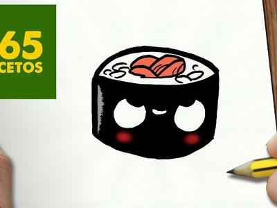 COMO DIBUJAR SUSHI KAWAII PASO A PASO - Dibujos kawaii faciles - How to draw a SUSHI