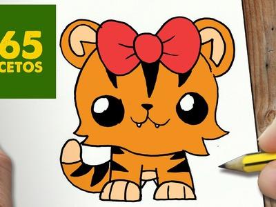 COMO DIBUJAR TIGRESA KAWAII PASO A PASO - Dibujos kawaii faciles - How to draw a tiger