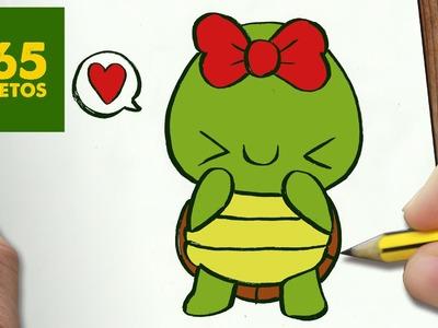 COMO DIBUJAR TORTUGA KAWAII PASO A PASO - Dibujos kawaii faciles - How to draw a Tortuga