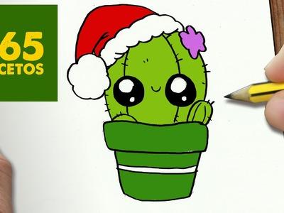 COMO DIBUJAR UN CACTUS PARA NAVIDAD PASO A PASO: Dibujos kawaii navideños - How to draw a Cactus