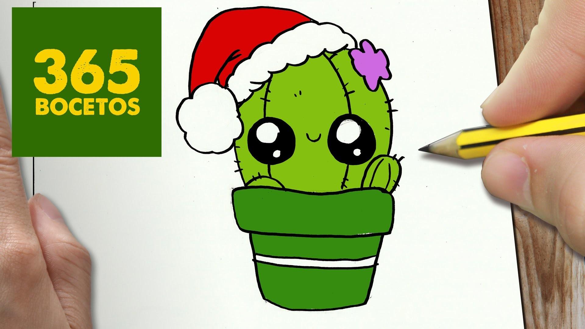 Como dibujar un cactus para navidad paso a paso dibujos for Cactus navideno