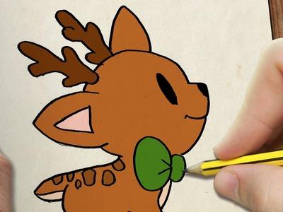 COMO DIBUJAR UN CIERVO PARA NAVIDAD PASO A PASO: Dibujos kawaii navideños - How to draw a deer