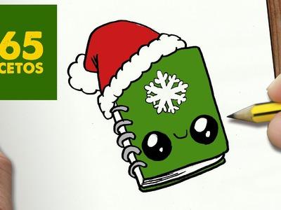 COMO DIBUJAR UN CUADERNO PARA NAVIDAD PASO A PASO: Dibujos kawaii navideños - draw a sketchbook