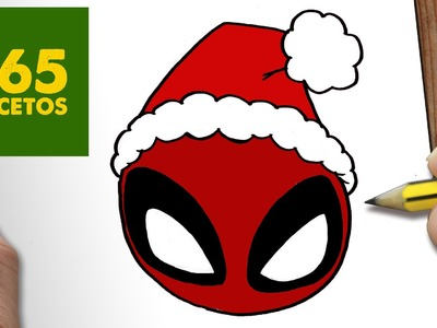 COMO DIBUJAR UN DEADPOOL PARA NAVIDAD PASO A PASO: Dibujos kawaii navideños - How to draw a Deadpool