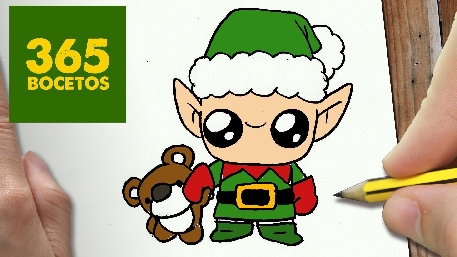 COMO DIBUJAR UN ELFO PARA NAVIDAD PASO A PASO: Dibujos kawaii navideños - How to draw a Elfa