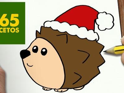 COMO DIBUJAR UN ERIZO PARA NAVIDAD PASO A PASO: Dibujos kawaii navideños - How to draw a Hedgehog