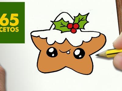 COMO DIBUJAR UN ESTRELLA GALLETA PARA NAVIDAD PASO A PASO: Dibujos kawaii navideños - draw a star