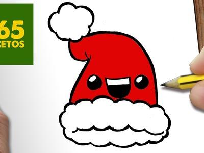 COMO DIBUJAR UN GORRO PARA NAVIDAD PASO A PASO: Dibujos kawaii navideños - How to draw a hat