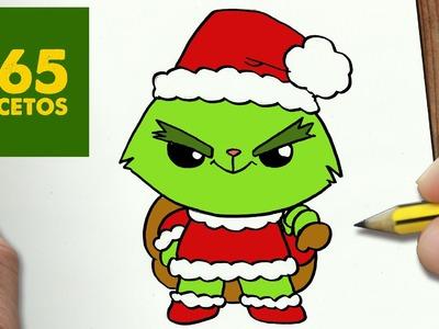 COMO DIBUJAR UN GRINCH PARA NAVIDAD PASO A PASO: Dibujos kawaii navideños - How to draw a Grinch