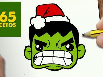 COMO DIBUJAR UN HULK PARA NAVIDAD PASO A PASO: Dibujos kawaii navideños - How to draw a Hulk